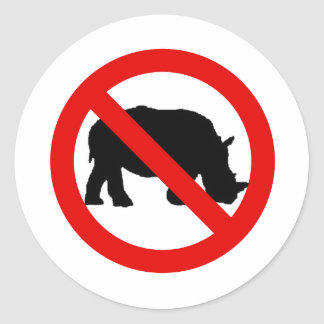 No Rhinos Allowed Classic Round Sticker