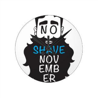 No Shave November Wall Clock