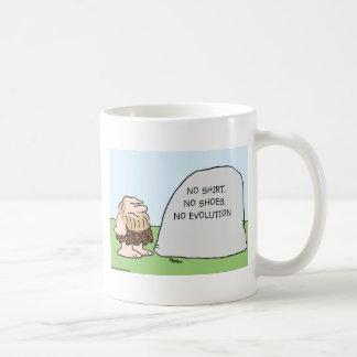 no shirt shoes evolution caveman classic white coffee mug