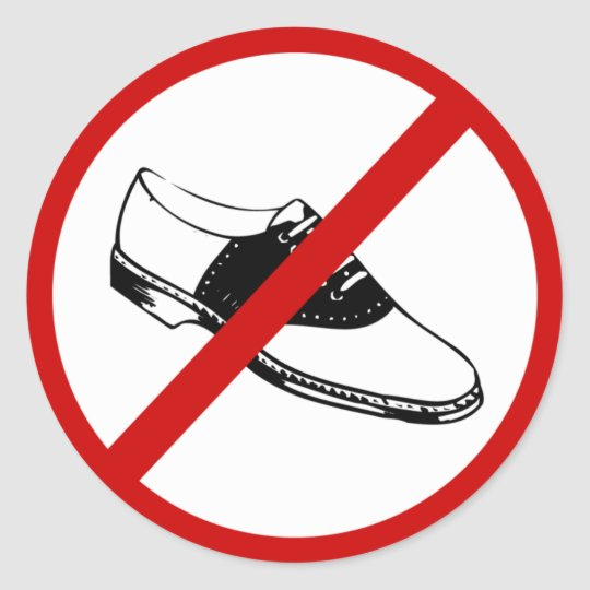no-shoes classic round sticker