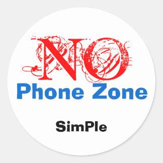 NO, SimPle, Phone Zone Classic Round Sticker
