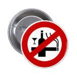 NO Smoking Alcohol ⚠ Thai Sign ⚠ 2 Inch Round Button