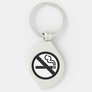 No Smoking Black and White Sign Silver-Colored Swirl Keychain