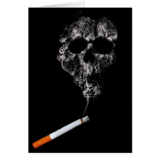 No Smoking Cigarette and Skull Greeting Card