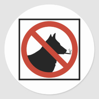 No Smoking Dogs Allowed Highway Sign Classic Round Sticker