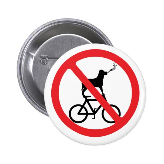 No Smoking Dogs on Bikes 2 Inch Round Button