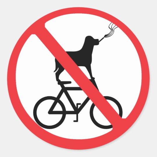 No Smoking Dogs on Bikes Classic Round Sticker