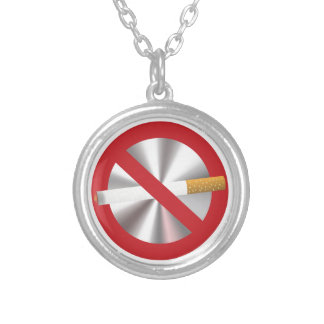 no smoking sign silver plated necklace