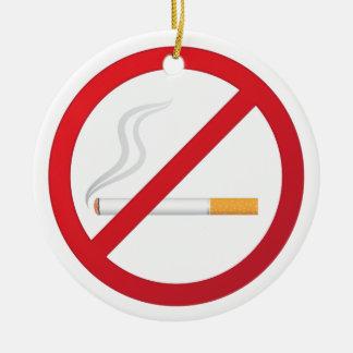 No smoking sign with a smoking cigarette ornament