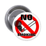 No Smoking Warning Sign 2 Inch Round Button