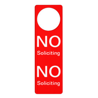 No Soliciting Bold Red Personal Business Wording Door Hanger