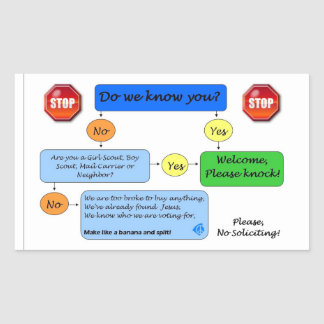 No Soliciting Flow Chart Sticker