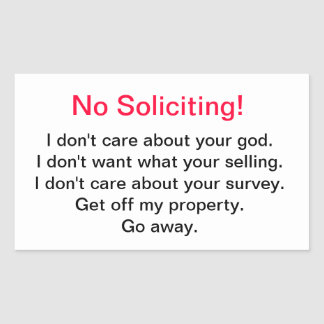 No Soliciting! Sticker