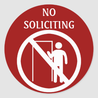 No Soliciting Stickers, Red and White Round Sticker