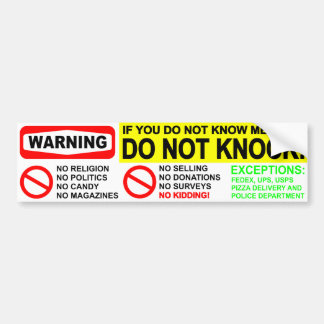 No Solicitors Door Sticker Bumper Sticker