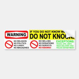 No Solicitors Door Sticker Bumper Sticker