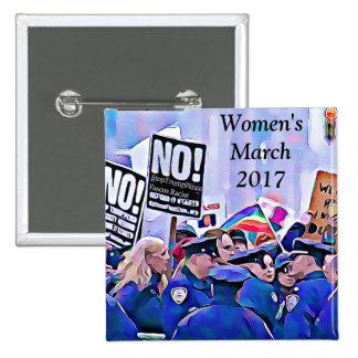 No! Stop Trump & Pence, Women's March for equality 2 Inch Square Button