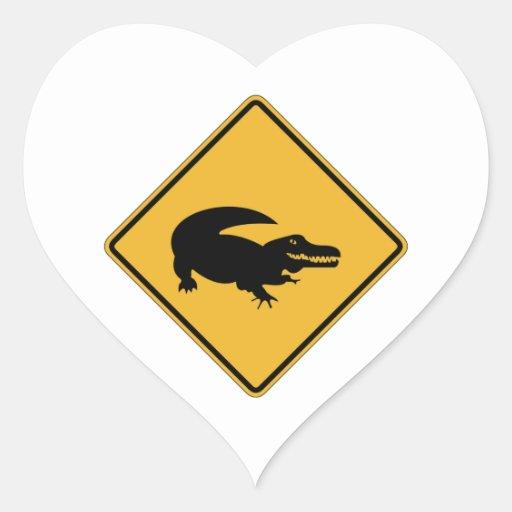 No Swimming - Alligators (1), Sign, Louisiana, US Heart Sticker