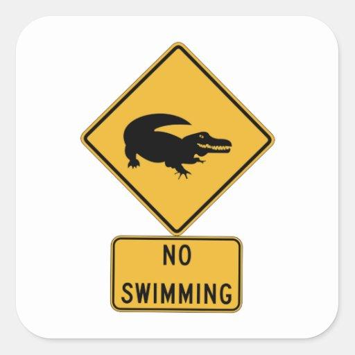 No Swimming - Alligators (2), Sign, Louisiana, US Square Stickers