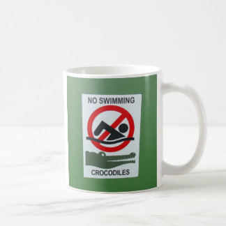 no swimming crocodiles coffee mug