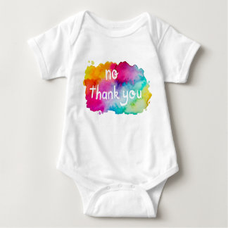 No Thank You Rainbow Watercolor Baby Bodysuit