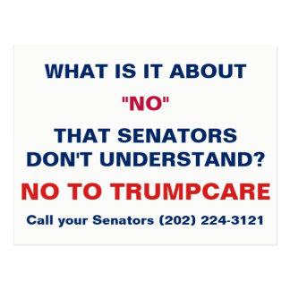 No to Trumpcare Call Your Senators Postcard