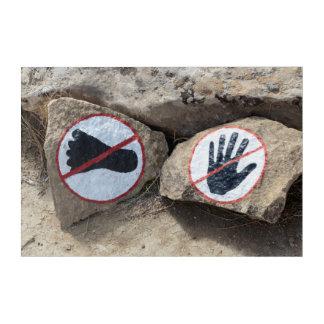 No Touching Or Walking Sign Acrylic Wall Art