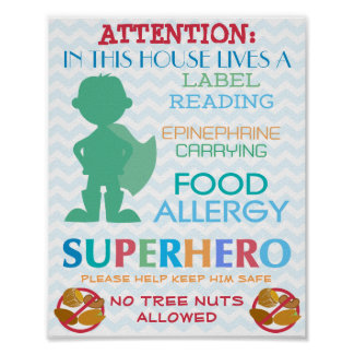 No Tree Nuts Allowed Superhero Boy Sign for Home
