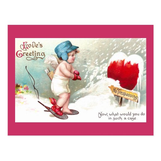 No Trespassing Heart Vintage Valentine Post Card