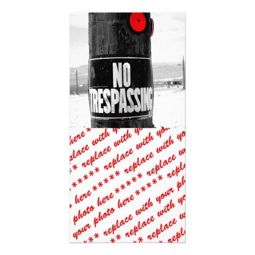 No Trespassing Reflector (B/W) Customized Photo Card