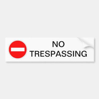 NO TRESPASSING SIGN BUMPER STICKER