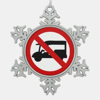 NO Tuk-Tuk TAXI ⚠ Thai Road Sign ⚠ Pewter Snowflake Ornament