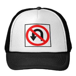 No U-Turn Highway Sign Mesh Hats