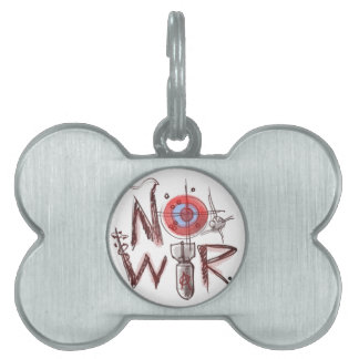 no war text based illustration pet tag