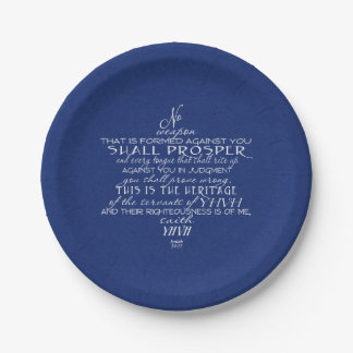 No Weapon Star of David Blue Paper Plate