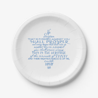 No Weapon Star of David Paper Plate