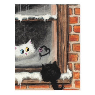 No Words Needed - Valentine Cats by BiHrLe Postcard