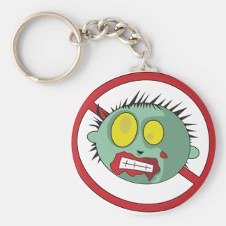 No-Zombie logo - get rid of zombies! Basic Round Button Keychain