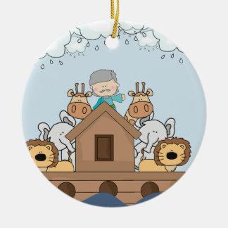 Noah and the Ark Full of Animals Ceramic Ornament