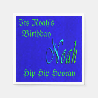 Noah, Birthday Logo On Blue Mosaic Tiles, Disposable Napkin