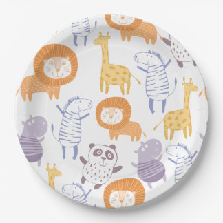 Noah Collection Zoo Animals Paper Plates 9 Inch Paper Plate