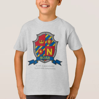 Noah N name meaning crest knights shield T-Shirt