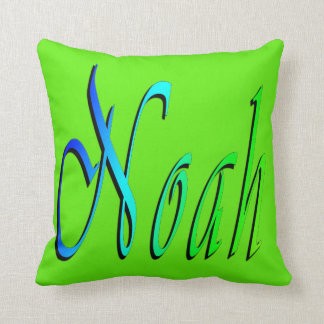 Noah, Name, Logo, Lime Green Throw Cushion