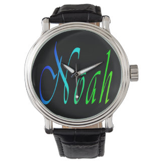 Noah, Name, Logo, Mens Big Black Leather Watch. Wrist Watches