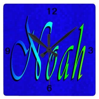 Noah, Name, Logo, Square Wall Clock