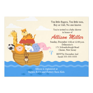 Noah s Ark Boy or Girl Baby Shower Personalized Invite