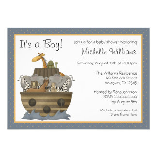 Noah s Ark Yellow Dots Baby Shower Custom Invites