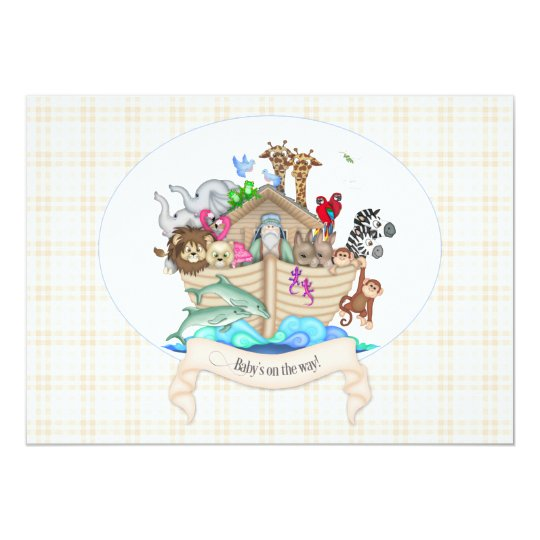 Noah's Ark Animals Ivory Gingham Card