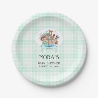 Noah's Ark Animals Mint Green Gingham 7 Inch Paper Plate