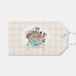 Noah's Ark Beige Tan Gingham Thank You Gift Gift Tags